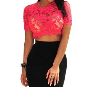 Tops - Lace red crop top